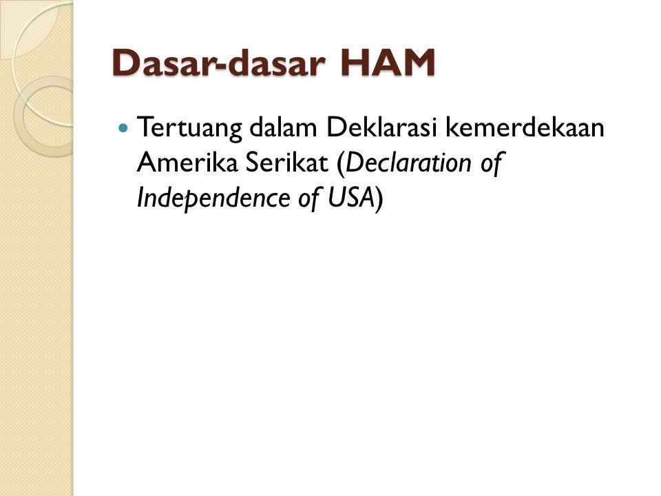 Dasar-dasar HAM (part 2) Tercantum dalam UUD 1945 Republik Indonesia, seperti pada :  pasal 27 ayat 1 ( )  pasal 28 ( )  pasal 29 ayat 2 ( )  pasal 30 ayat 1 ( )  pasal 31 ayat 1 ( )