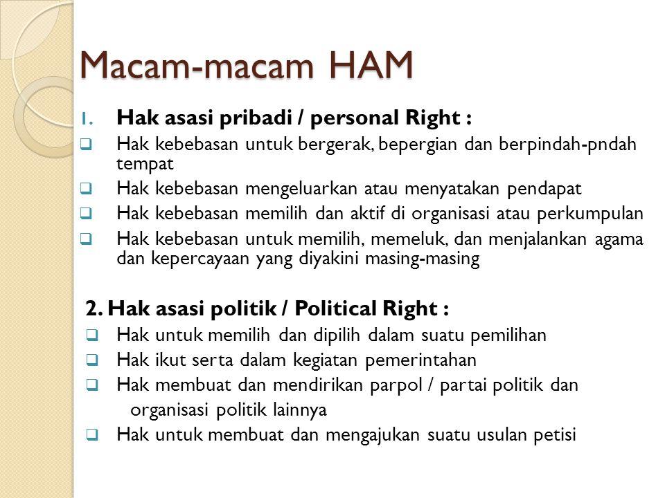 Macam-macam HAM 1. Hak asasi pribadi / personal Right :  Hak kebebasan untuk bergerak, bepergian dan berpindah-pndah tempat  Hak kebebasan mengeluar