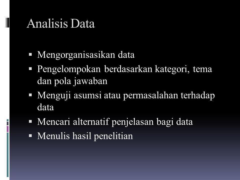 Analisis Data  Mengorganisasikan data  Pengelompokan berdasarkan kategori, tema dan pola jawaban  Menguji asumsi atau permasalahan terhadap data 