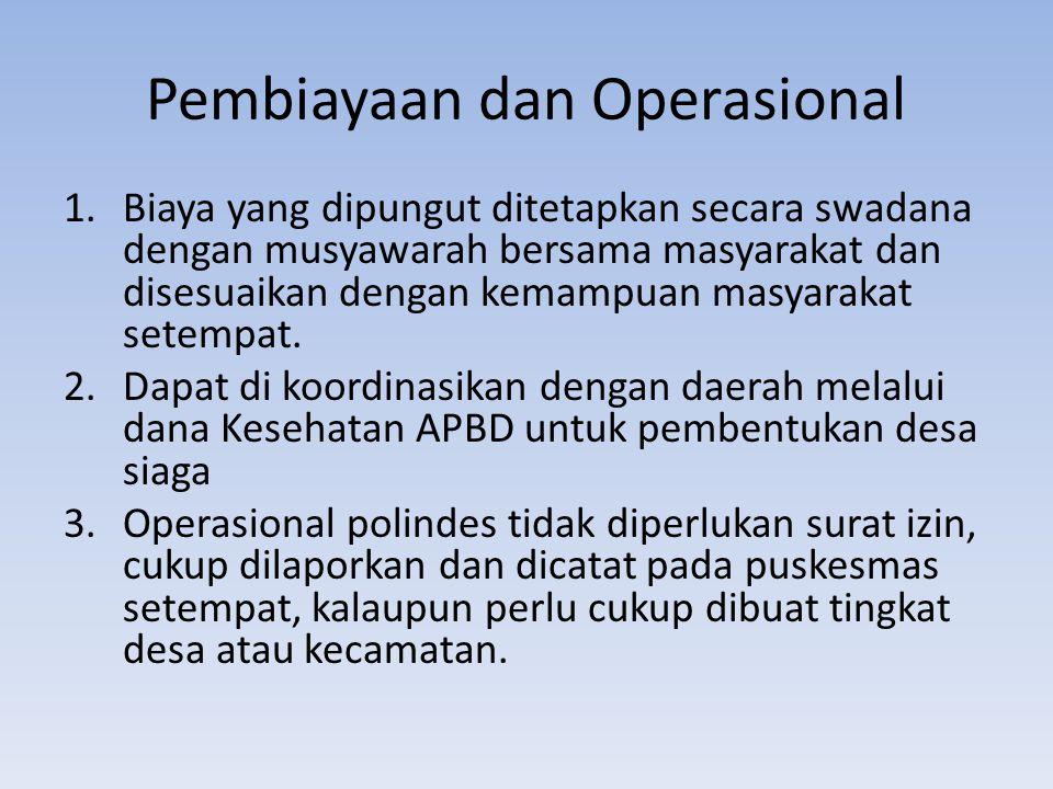 Pembiayaan dan Operasional 1.Biaya yang dipungut ditetapkan secara swadana dengan musyawarah bersama masyarakat dan disesuaikan dengan kemampuan masya