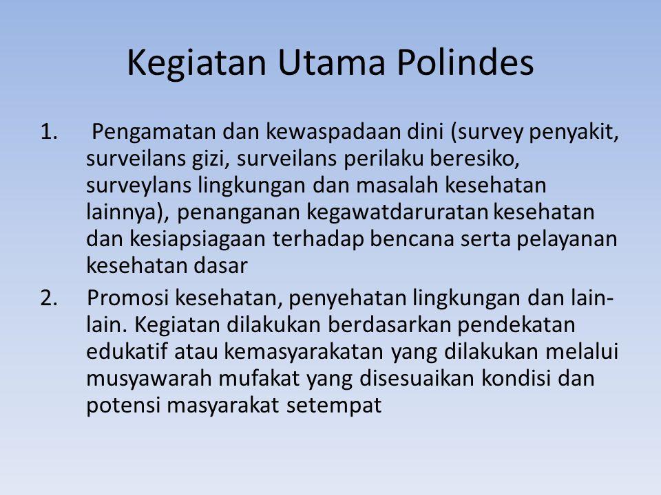 Kegiatan Utama Polindes 1. Pengamatan dan kewaspadaan dini (survey penyakit, surveilans gizi, surveilans perilaku beresiko, surveylans lingkungan dan