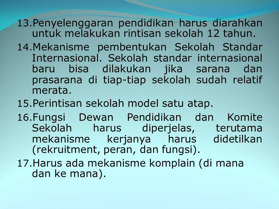 9. Memasukan wajib belajar (wajardikdas) 12 tahun. 10. Pasal tentang MDA dilengkapi atau ditambah ayat karena konsekuensi dari perintah wajib di dalam