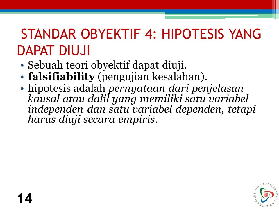 STANDAR OBYEKTIF 4: HIPOTESIS YANG DAPAT DIUJI Sebuah teori obyektif dapat diuji.