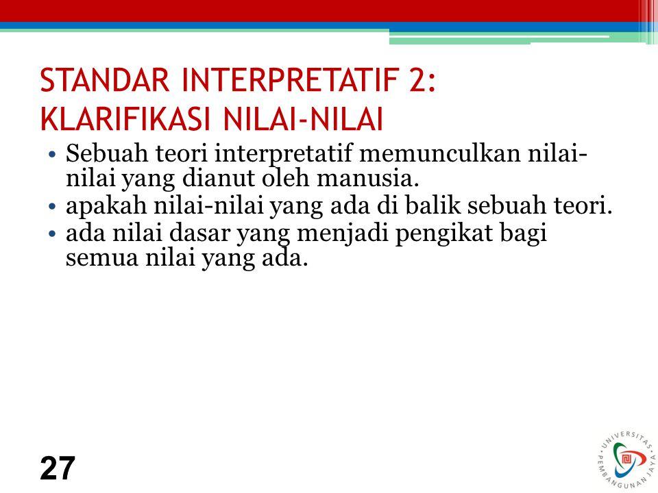 STANDAR INTERPRETATIF 2: KLARIFIKASI NILAI-NILAI Sebuah teori interpretatif memunculkan nilai- nilai yang dianut oleh manusia.