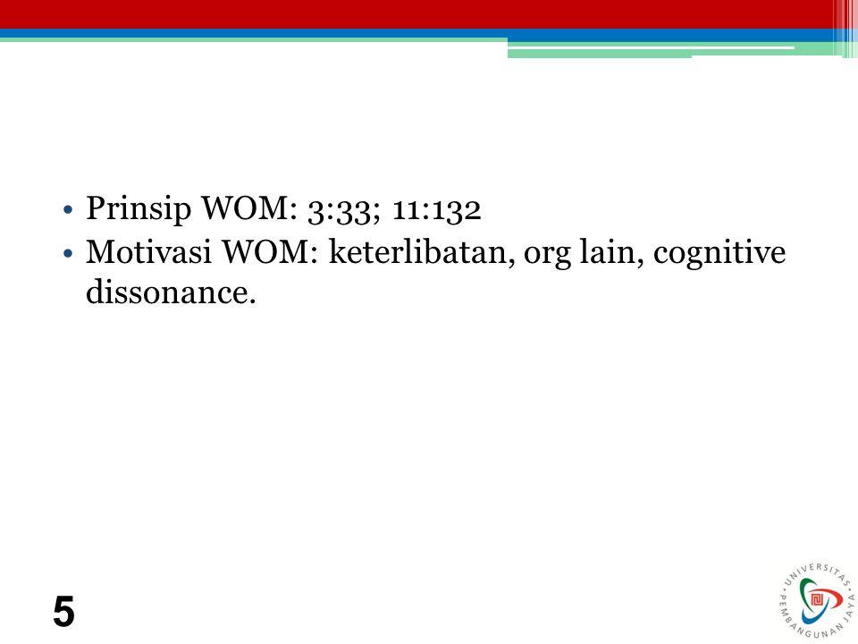 Prinsip WOM: 3:33; 11:132 Motivasi WOM: keterlibatan, org lain, cognitive dissonance. 5