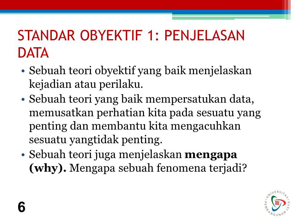 STANDAR OBYEKTIF 1: PENJELASAN DATA Sebuah teori obyektif yang baik menjelaskan kejadian atau perilaku.