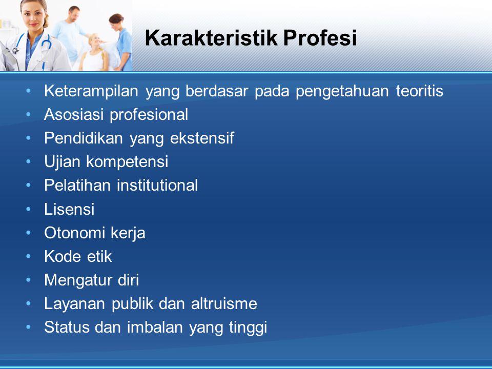 Karakteristik Profesi Keterampilan yang berdasar pada pengetahuan teoritis Asosiasi profesional Pendidikan yang ekstensif Ujian kompetensi Pelatihan i