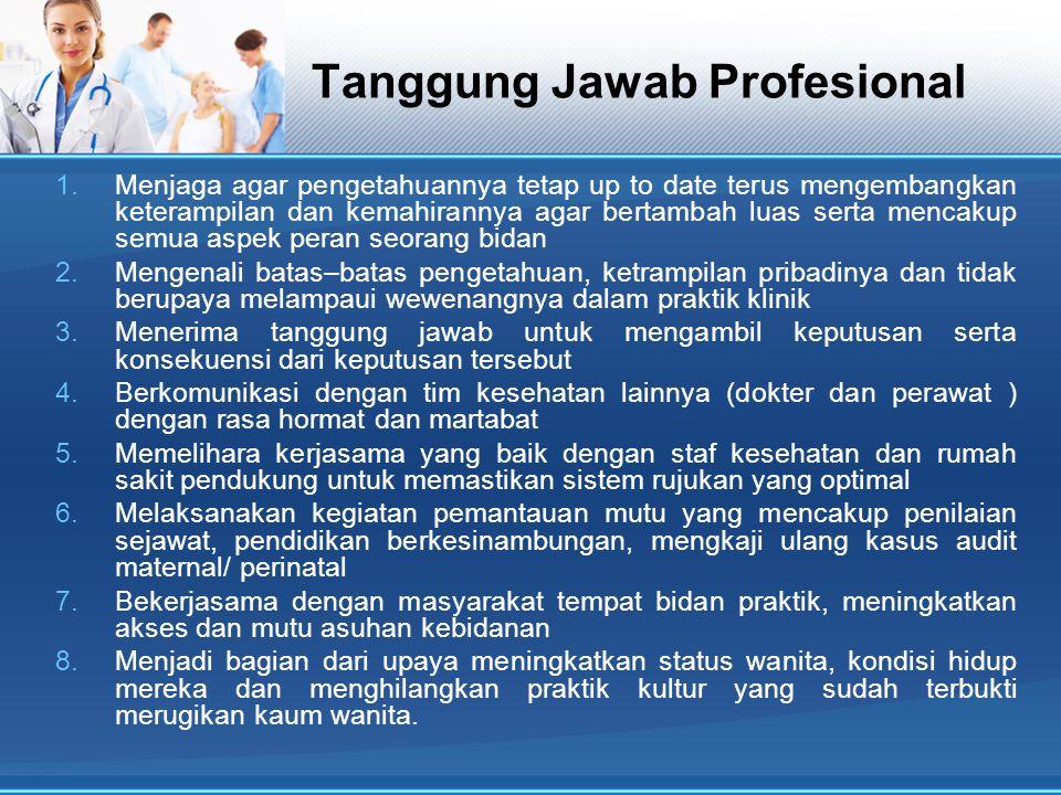 Tanggung Jawab Profesional 1.Menjaga agar pengetahuannya tetap up to date terus mengembangkan keterampilan dan kemahirannya agar bertambah luas serta