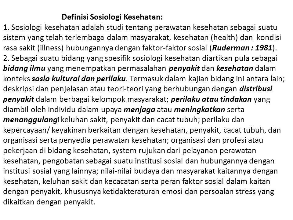 Topik Sosiologi Kesehatan: 2.Perilaku sehat dan sakit, Meliputi; (a).
