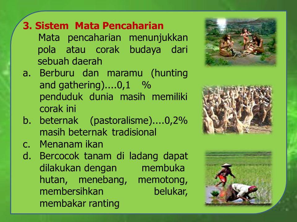 3. Sistem Mata Pencaharian Mata pencaharian menunjukkan pola atau corak budaya dari sebuah daerah a.Berburu dan maramu (hunting and gathering)....0,1