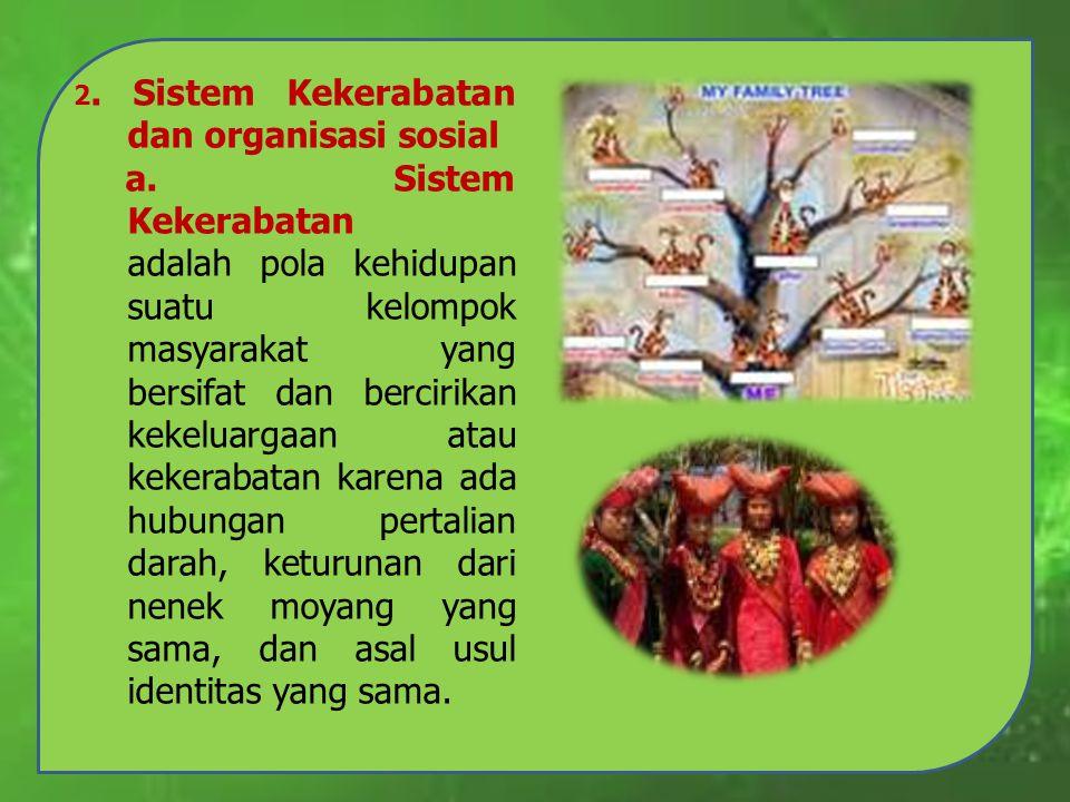 2. Sistem Kekerabatan dan organisasi sosial a. Sistem Kekerabatan adalah pola kehidupan suatu kelompok masyarakat yang bersifat dan bercirikan kekelua