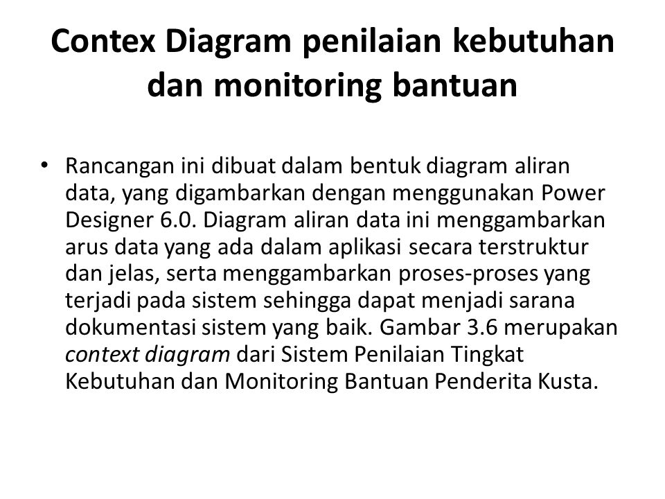 Contex Diagram penilaian kebutuhan dan monitoring bantuan Rancangan ini dibuat dalam bentuk diagram aliran data, yang digambarkan dengan menggunakan P