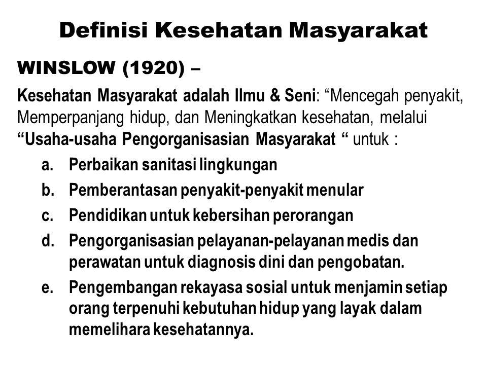 """Definisi Kesehatan Masyarakat WINSLOW (1920) – Kesehatan Masyarakat adalah Ilmu & Seni : """"Mencegah penyakit, Memperpanjang hidup, dan Meningkatkan kes"""