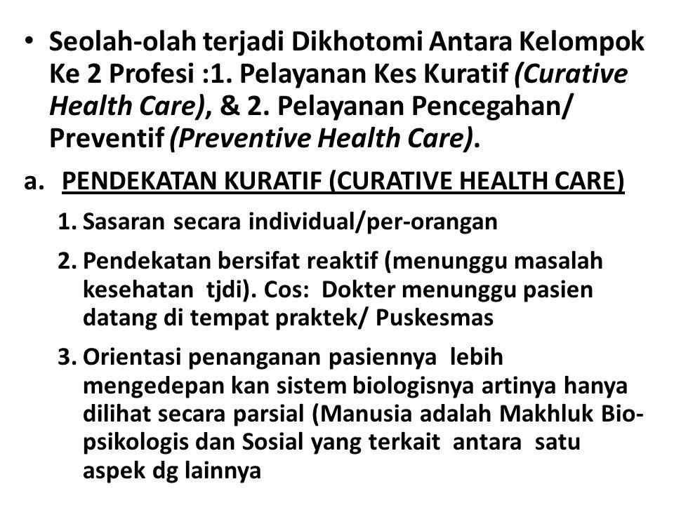 Seolah-olah terjadi Dikhotomi Antara Kelompok Ke 2 Profesi :1. Pelayanan Kes Kuratif (Curative Health Care), & 2. Pelayanan Pencegahan/ Preventif (Pre