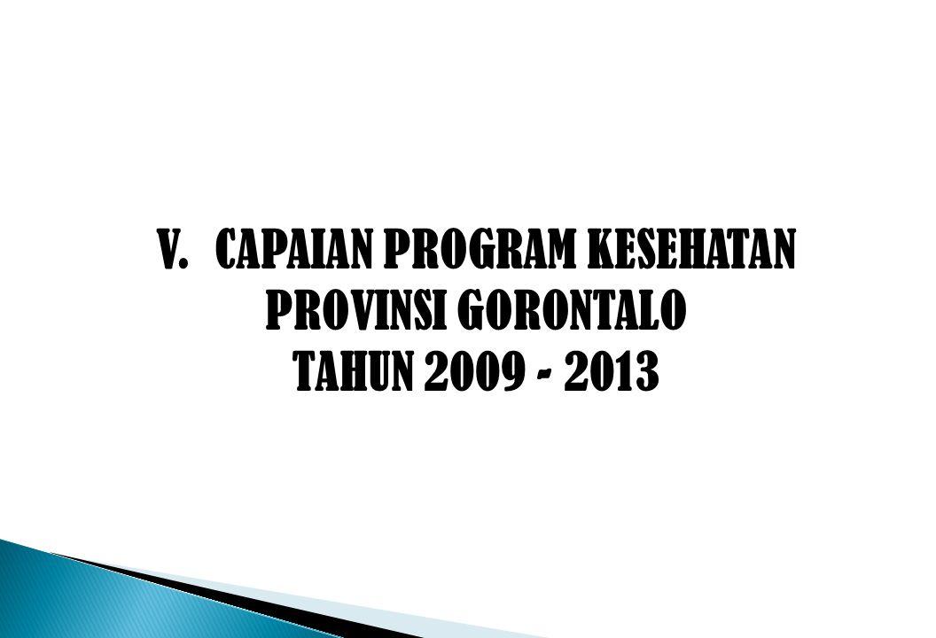V. CAPAIAN PROGRAM KESEHATAN PROVINSI GORONTALO TAHUN 2009 - 2013