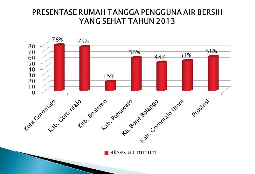 PRESENTASE RUMAH TANGGA PENGGUNA AIR BERSIH YANG SEHAT TAHUN 2013