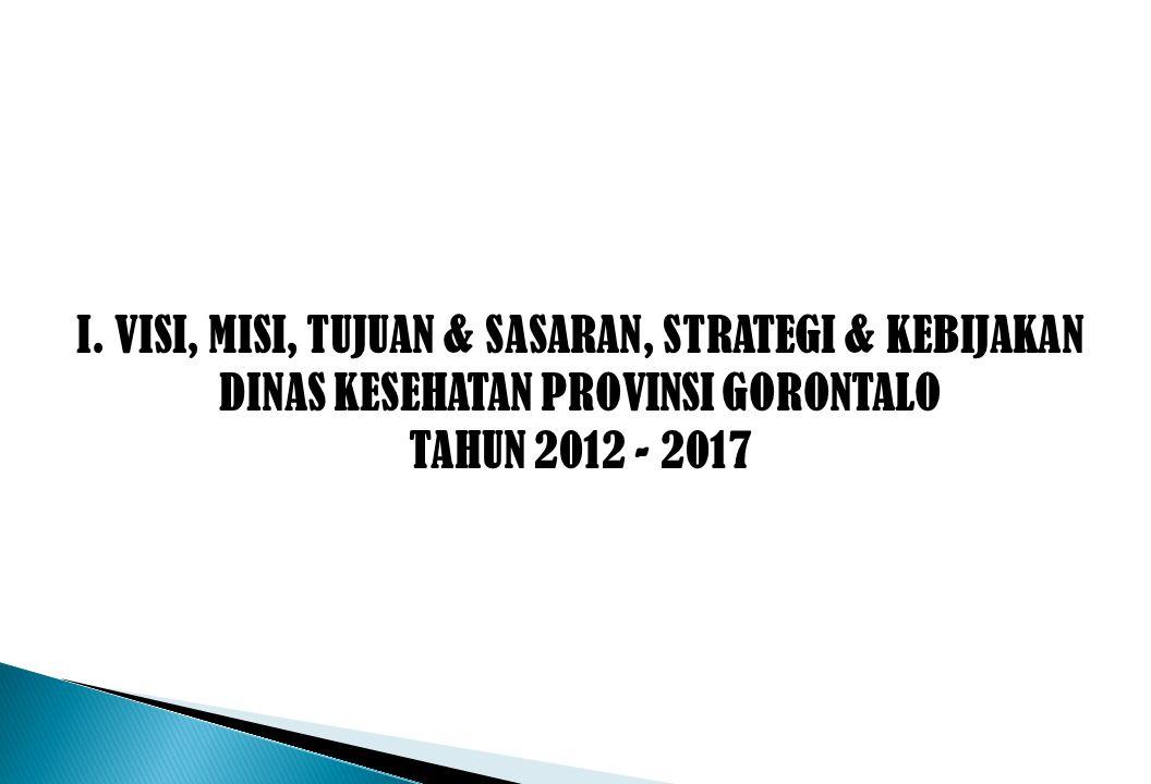 I. VISI, MISI, TUJUAN & SASARAN, STRATEGI & KEBIJAKAN DINAS KESEHATAN PROVINSI GORONTALO TAHUN 2012 - 2017