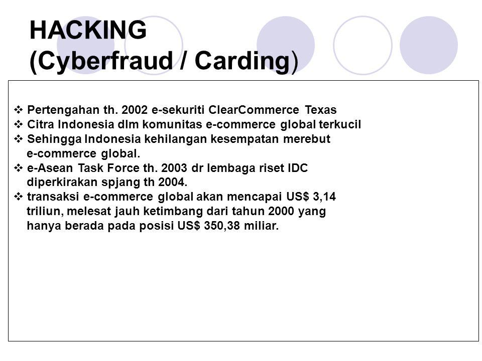 HACKING (Cyberfraud / Carding)  Pertengahan th. 2002 e-sekuriti ClearCommerce Texas  Citra Indonesia dlm komunitas e-commerce global terkucil  Sehi