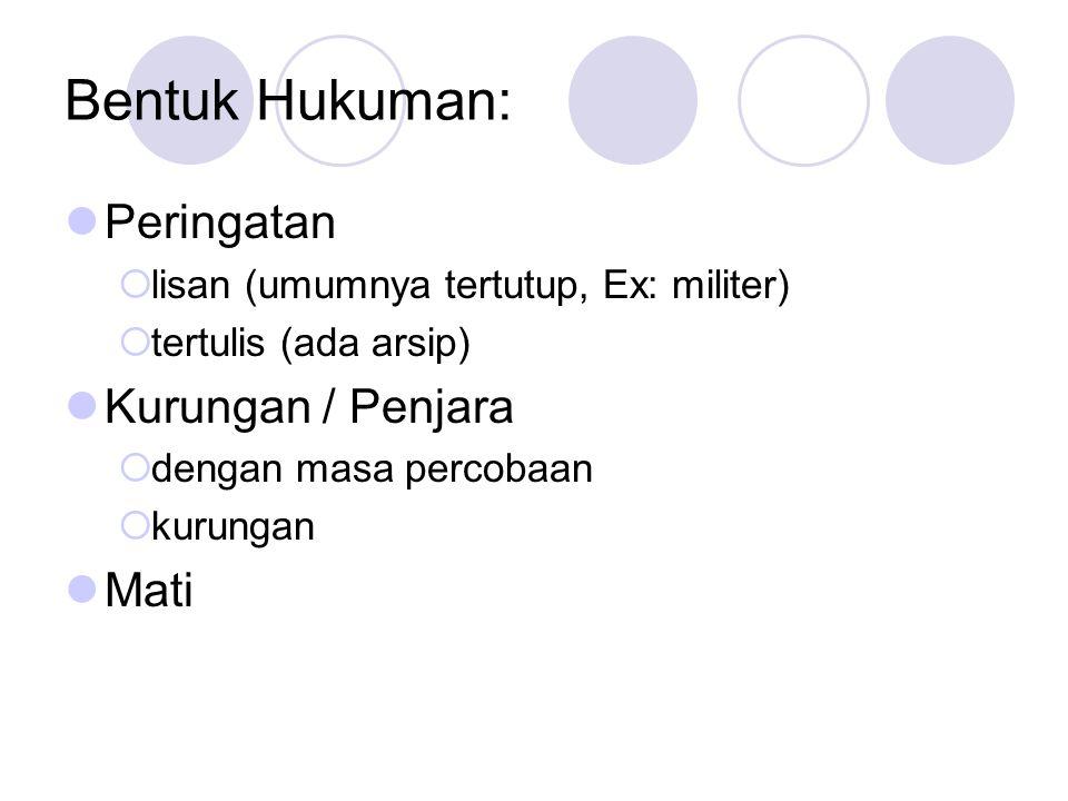 Bentuk Hukuman: Peringatan  lisan (umumnya tertutup, Ex: militer)  tertulis (ada arsip) Kurungan / Penjara  dengan masa percobaan  kurungan Mati