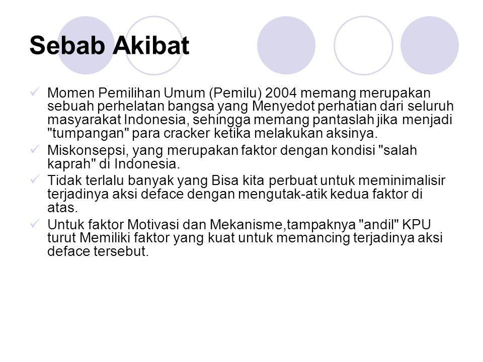 Sebab Akibat Momen Pemilihan Umum (Pemilu) 2004 memang merupakan sebuah perhelatan bangsa yang Menyedot perhatian dari seluruh masyarakat Indonesia, s