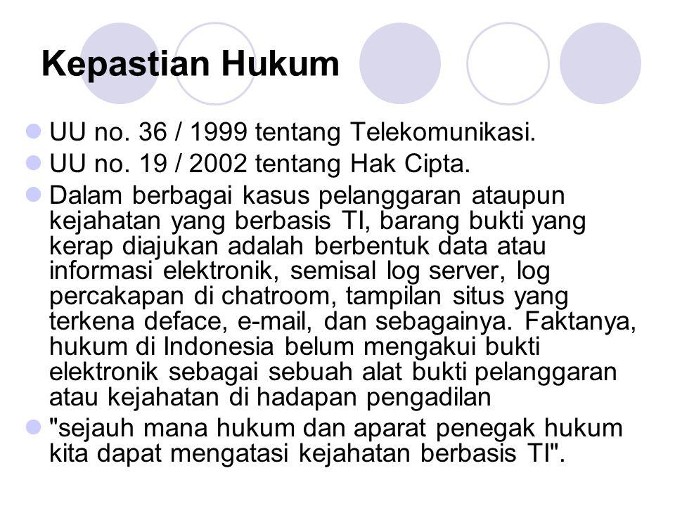 Kepastian Hukum UU no. 36 / 1999 tentang Telekomunikasi. UU no. 19 / 2002 tentang Hak Cipta. Dalam berbagai kasus pelanggaran ataupun kejahatan yang b