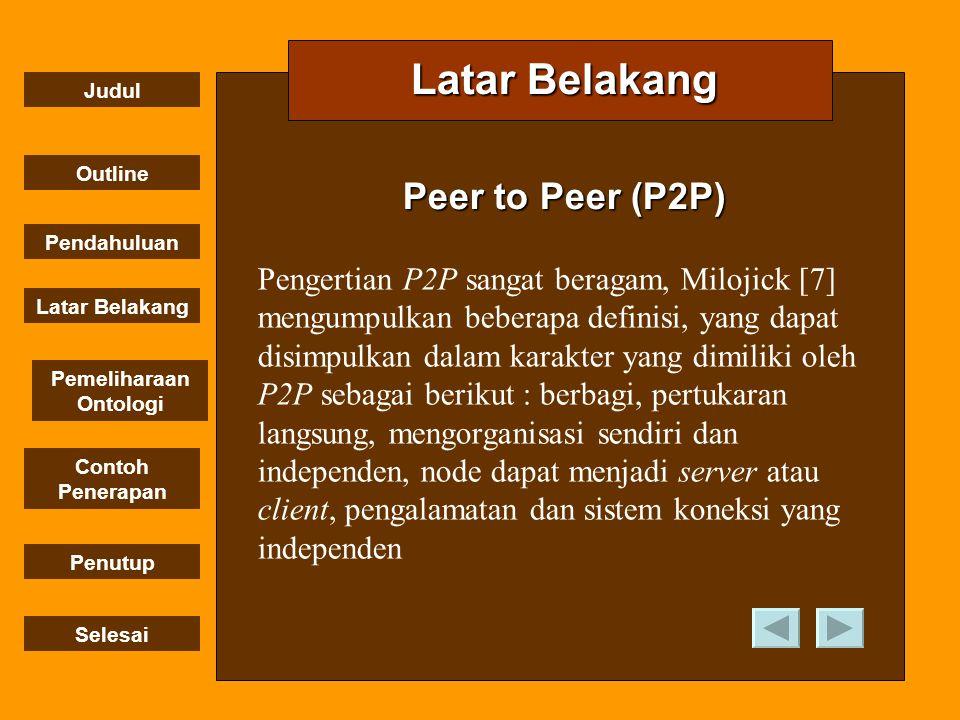 Judul Outline Pendahuluan Penutup Selesai Latar Belakang Contoh Penerapan Pemeliharaan OntologiP2P Latar Belakang Arsitektur P2P yang dibahas akan menggunakan hybrid model dengan super peer (SP).