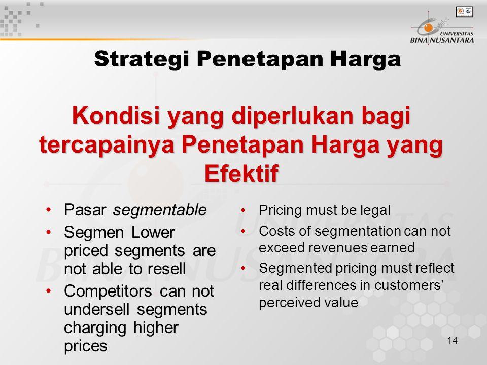14 Kondisi yang diperlukan bagi tercapainya Penetapan Harga yang Efektif Strategi Penetapan Harga Pasar segmentable Segmen Lower priced segments are n