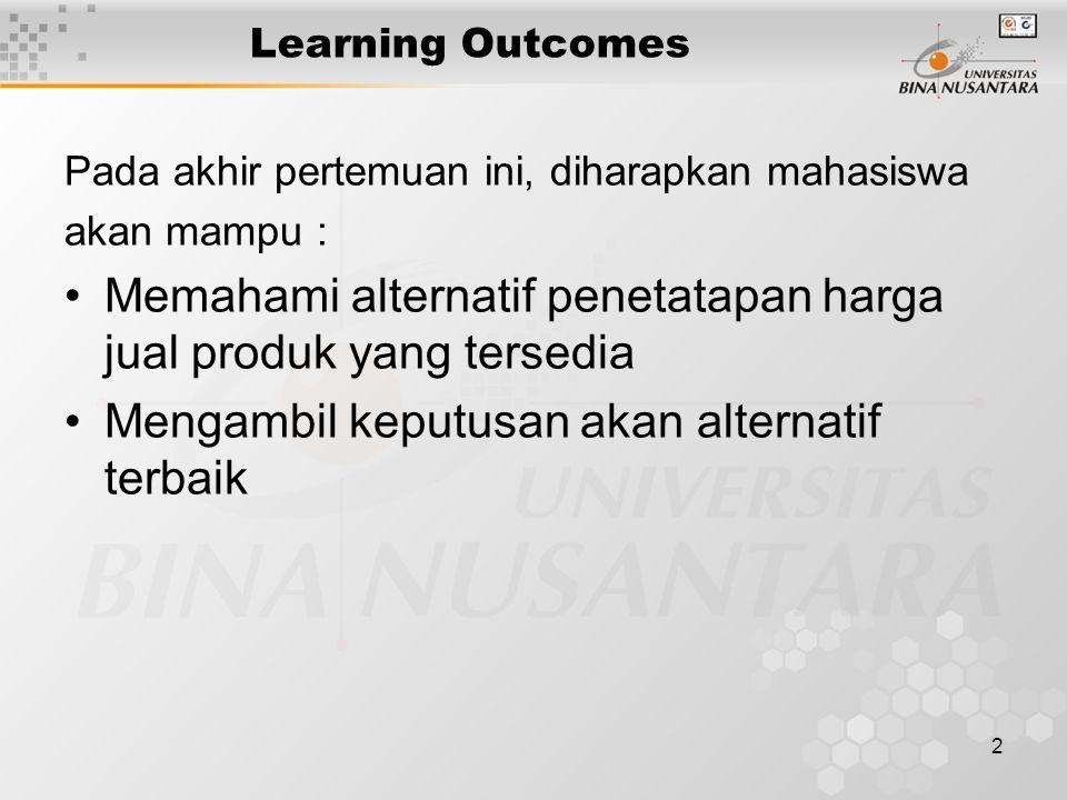 2 Learning Outcomes Pada akhir pertemuan ini, diharapkan mahasiswa akan mampu : Memahami alternatif penetatapan harga jual produk yang tersedia Mengam