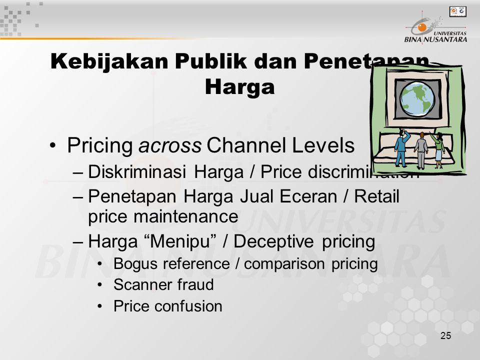 """25 Pricing across Channel Levels –Diskriminasi Harga / Price discrimination –Penetapan Harga Jual Eceran / Retail price maintenance –Harga """"Menipu"""" /"""