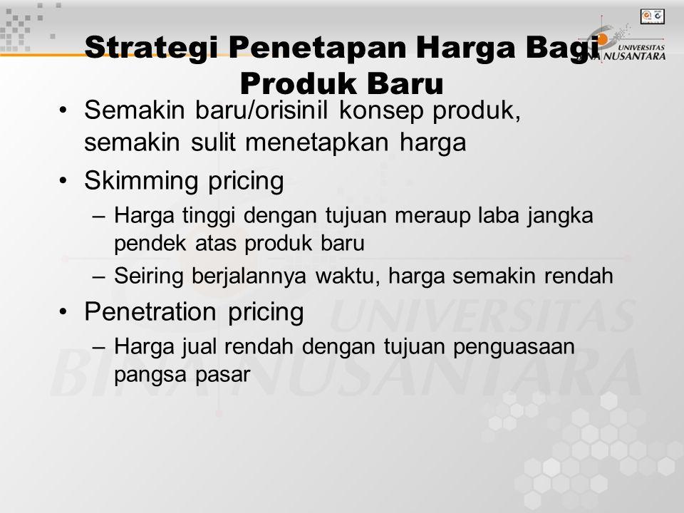 Strategi Penetapan Harga Bagi Produk Baru Semakin baru/orisinil konsep produk, semakin sulit menetapkan harga Skimming pricing –Harga tinggi dengan tu