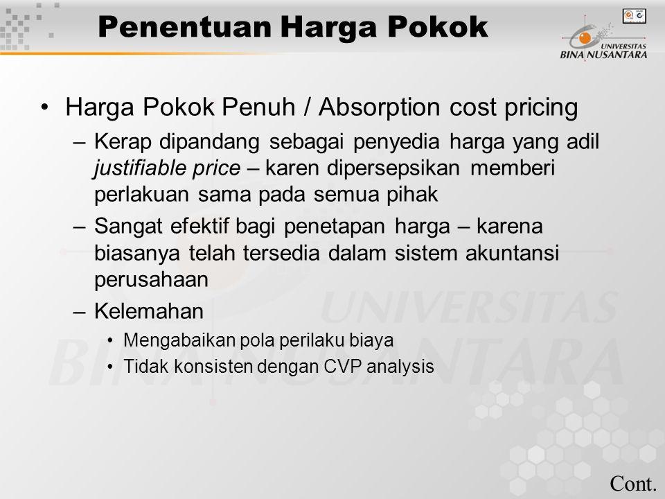 Penentuan Harga Pokok Harga Pokok Penuh / Absorption cost pricing –Kerap dipandang sebagai penyedia harga yang adil justifiable price – karen dipersep