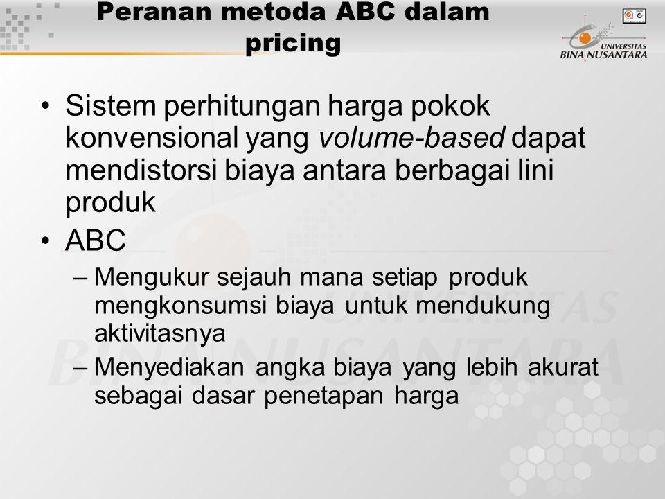 Peranan metoda ABC dalam pricing Sistem perhitungan harga pokok konvensional yang volume-based dapat mendistorsi biaya antara berbagai lini produk ABC