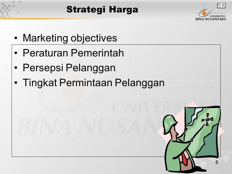 19 Strategi Penyesuaian Harga International Prices charged in a specific country depend on many factors –Economic conditions –Competitive situation –Laws / regulations –Distribution system –Consumer perceptions –Cost considerations Strategies