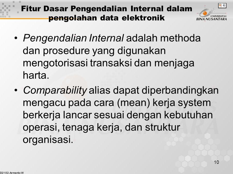 D2182-Armanto W 10 Pengendalian Internal adalah methoda dan prosedure yang digunakan mengotorisasi transaksi dan menjaga harta.