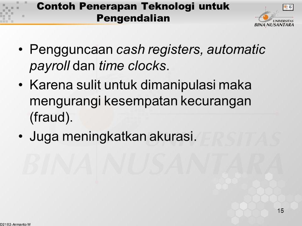 D2182-Armanto W 15 Contoh Penerapan Teknologi untuk Pengendalian Pengguncaan cash registers, automatic payroll dan time clocks.