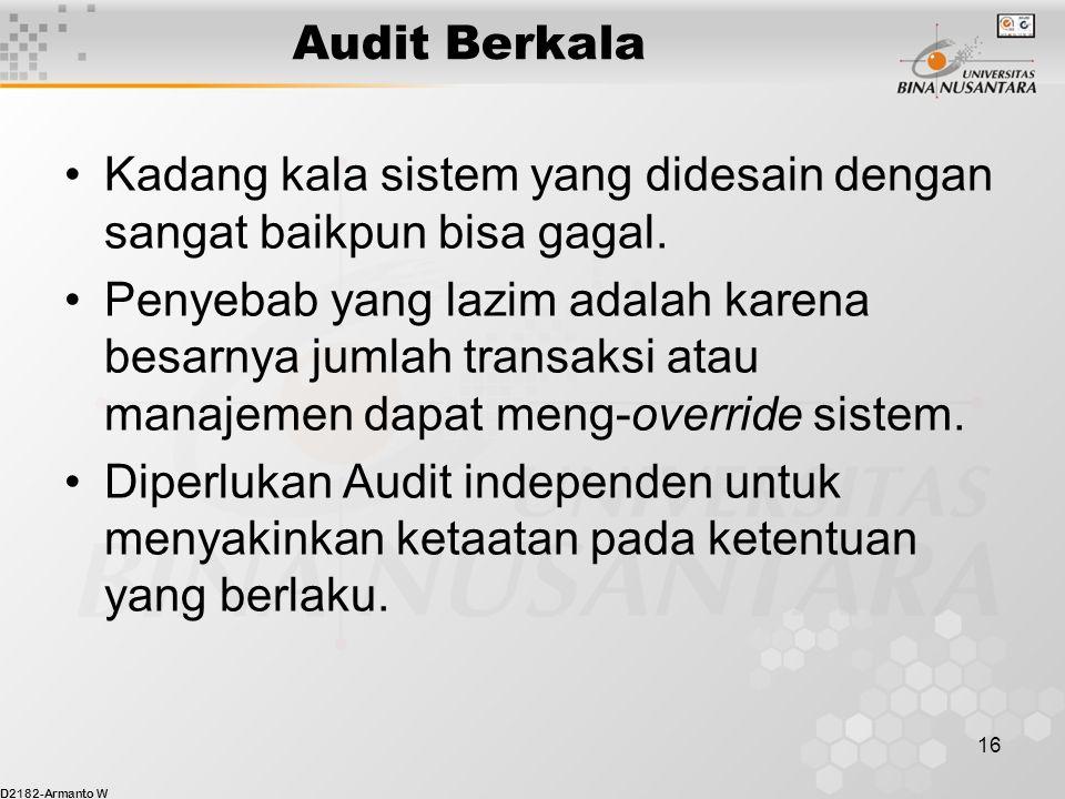 D2182-Armanto W 16 Audit Berkala Kadang kala sistem yang didesain dengan sangat baikpun bisa gagal.