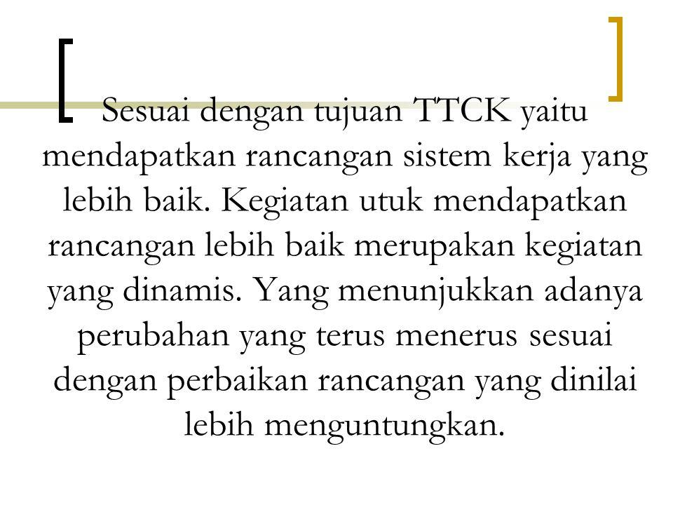 Sesuai dengan tujuan TTCK yaitu mendapatkan rancangan sistem kerja yang lebih baik.