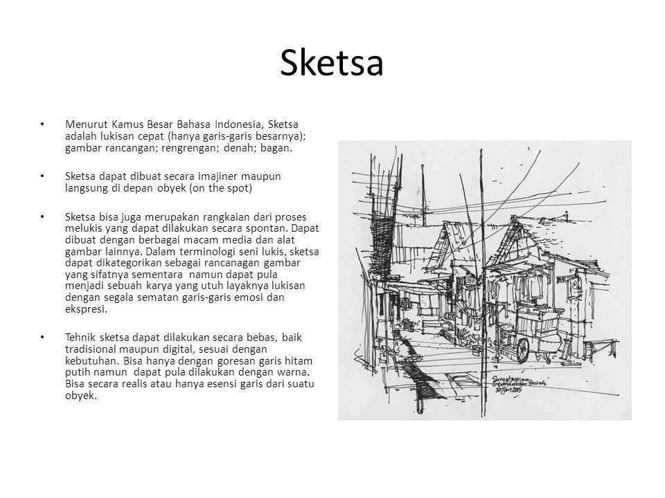 Sketsa Menurut Kamus Besar Bahasa Indonesia, Sketsa adalah lukisan cepat (hanya garis-garis besarnya); gambar rancangan; rengrengan; denah; bagan. Ske