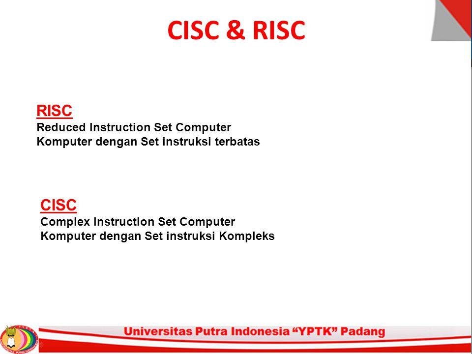 RISC (Reduced Instruction Set Computer) Ciri-Ciri Utama: Peningkatan kapasitas pada general purpose register Penggunaan Teknologi kompiler untuk meningkatkan kenerja register yang digunakan Set instruksi yang sederhana dan terbatas Peningkatan pada saluran instruksi Dikembangkan oleh dunia penelitian akademisi
