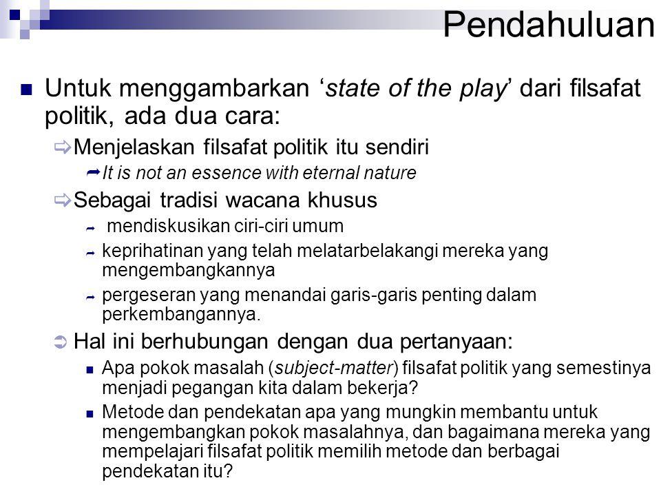 Pendahuluan Untuk menggambarkan 'state of the play' dari filsafat politik, ada dua cara:  Menjelaskan filsafat politik itu sendiri  It is not an ess