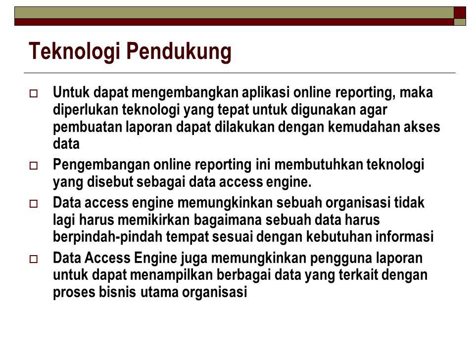 Teknologi Pendukung  Untuk dapat mengembangkan aplikasi online reporting, maka diperlukan teknologi yang tepat untuk digunakan agar pembuatan laporan