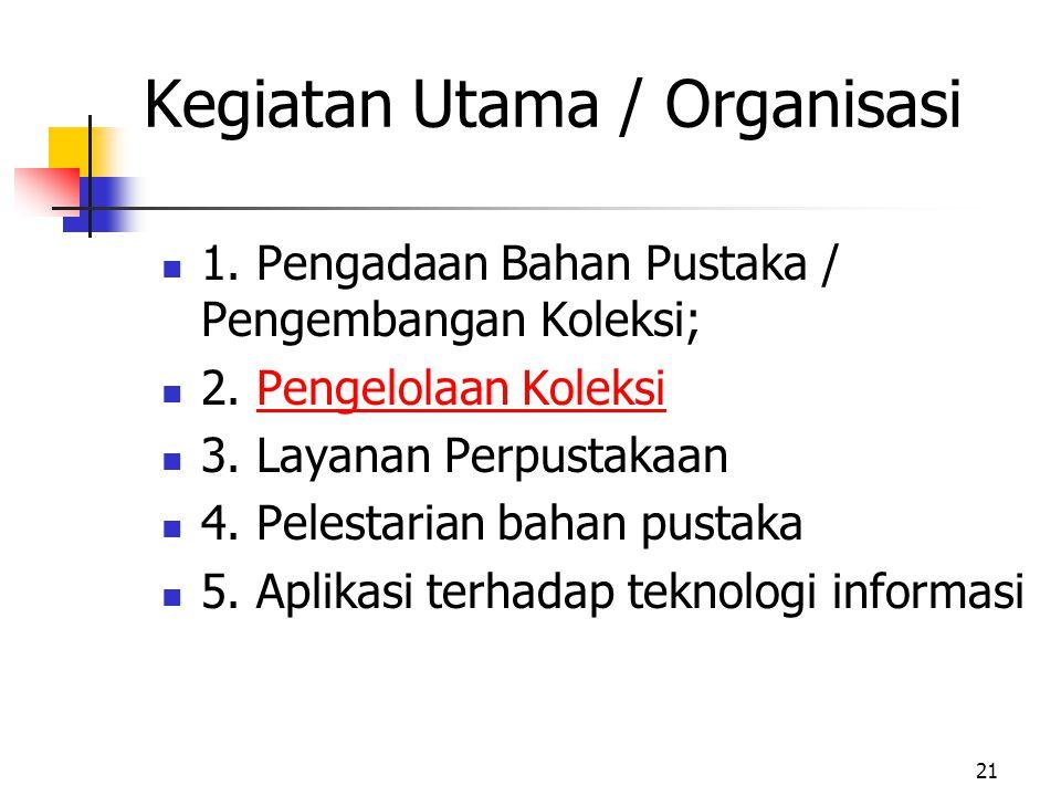 21 Kegiatan Utama / Organisasi 1.Pengadaan Bahan Pustaka / Pengembangan Koleksi; 2.