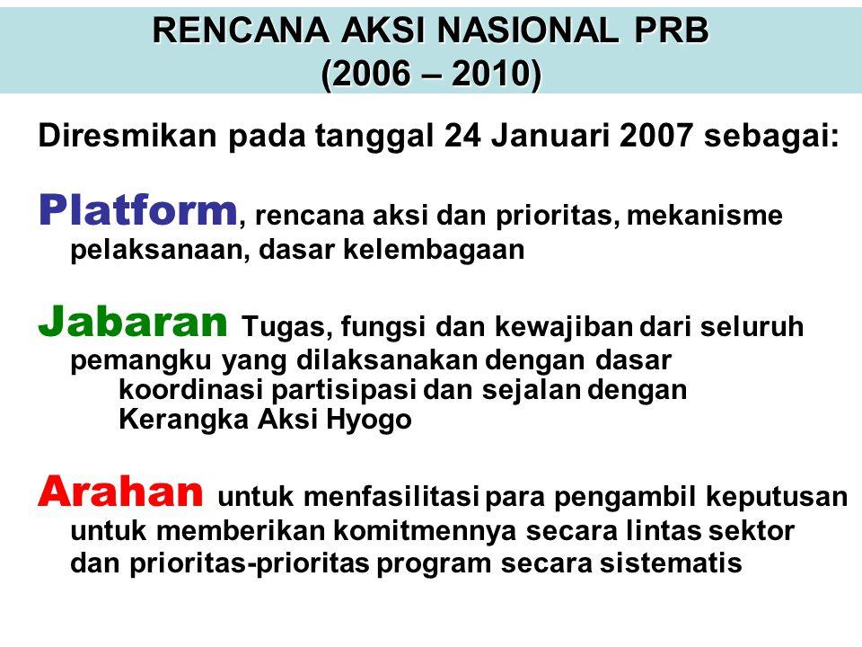 RENCANA AKSI NASIONAL PRB (2006 – 2010) Diresmikan pada tanggal 24 Januari 2007 sebagai: Platform, rencana aksi dan prioritas, mekanisme pelaksanaan,