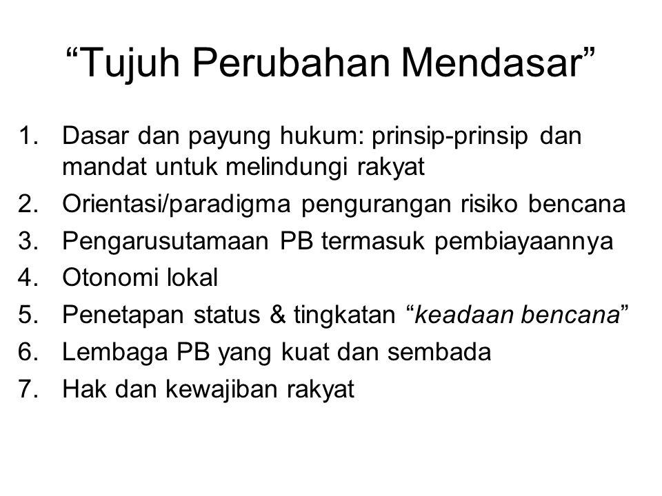 """""""Tujuh Perubahan Mendasar"""" 1.Dasar dan payung hukum: prinsip-prinsip dan mandat untuk melindungi rakyat 2.Orientasi/paradigma pengurangan risiko benca"""