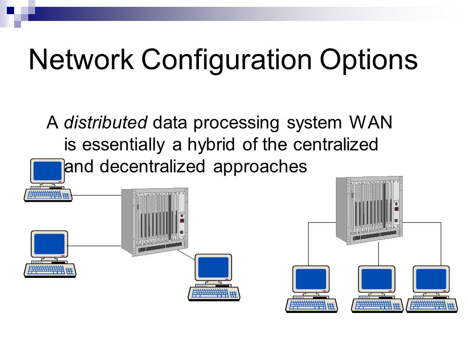 Network Configuration Options A distributed data processing system WAN is essentially a hybrid of the centralized and decentralized approaches