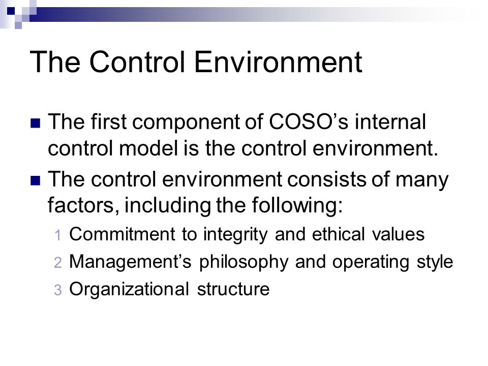 The Control Environment The first component of COSO's internal control model is the control environment. The control environment consists of many fact