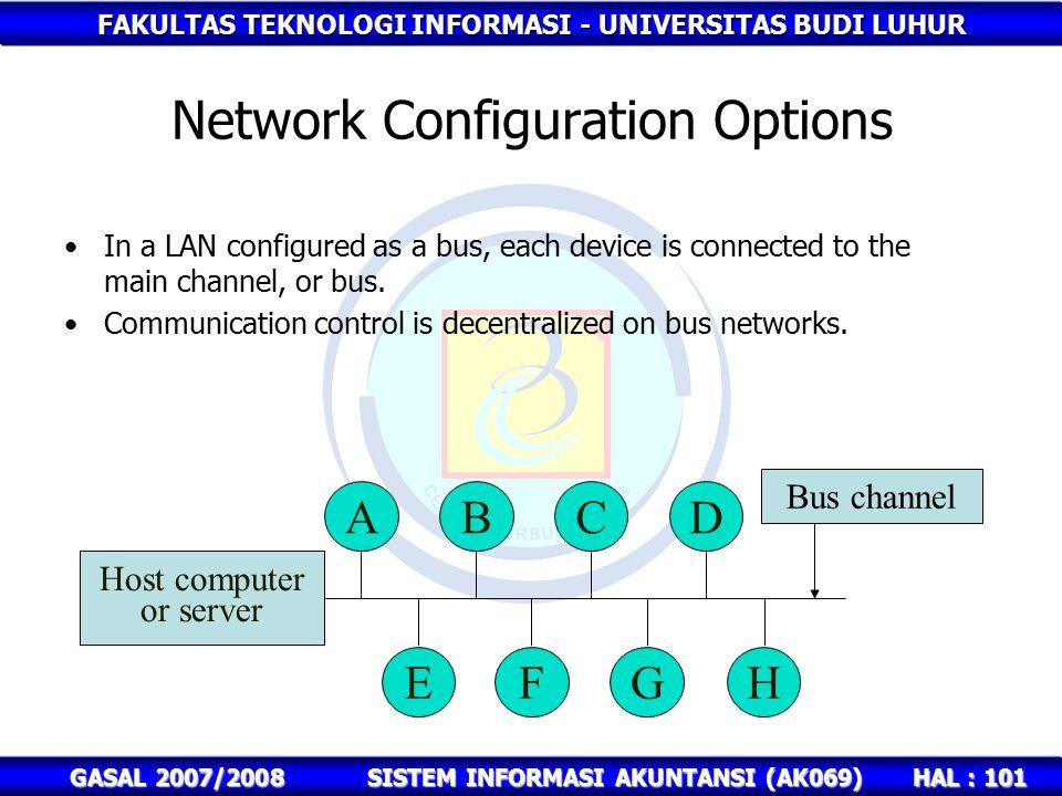 FAKULTAS TEKNOLOGI INFORMASI - UNIVERSITAS BUDI LUHUR HAL : 101 GASAL 2007/2008SISTEM INFORMASI AKUNTANSI (AK069) Network Configuration Options In a LAN configured as a bus, each device is connected to the main channel, or bus.