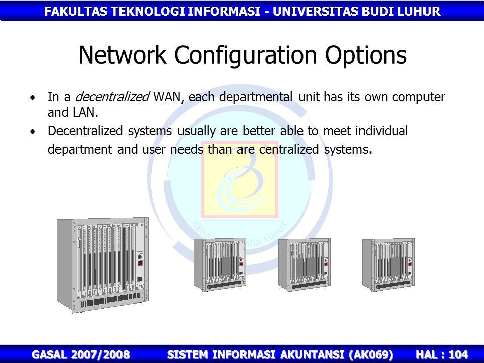 FAKULTAS TEKNOLOGI INFORMASI - UNIVERSITAS BUDI LUHUR HAL : 104 GASAL 2007/2008SISTEM INFORMASI AKUNTANSI (AK069) Network Configuration Options In a decentralized WAN, each departmental unit has its own computer and LAN.