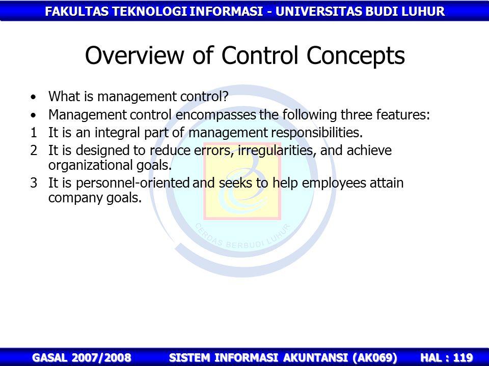 FAKULTAS TEKNOLOGI INFORMASI - UNIVERSITAS BUDI LUHUR HAL : 119 GASAL 2007/2008SISTEM INFORMASI AKUNTANSI (AK069) Overview of Control Concepts What is management control.