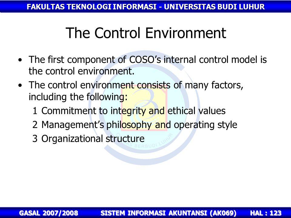 FAKULTAS TEKNOLOGI INFORMASI - UNIVERSITAS BUDI LUHUR HAL : 123 GASAL 2007/2008SISTEM INFORMASI AKUNTANSI (AK069) The Control Environment The first component of COSO's internal control model is the control environment.